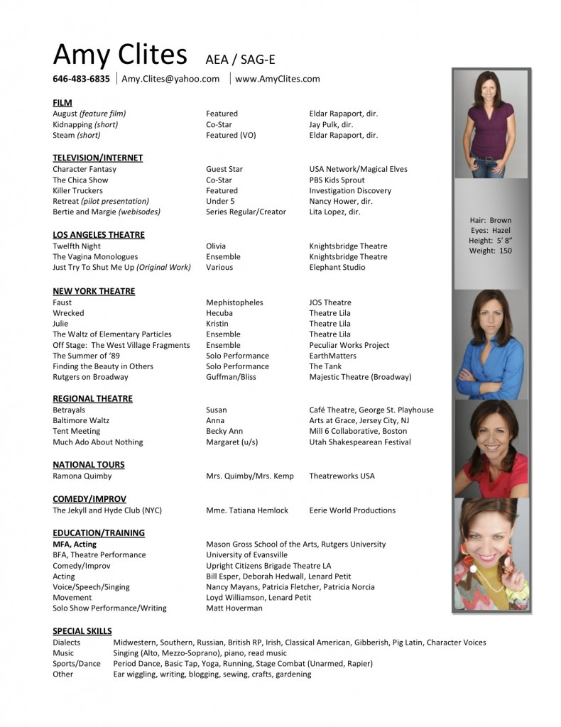 Amy Clites Acting Resume